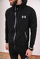 Спортивный костюм мужской черный Under Armour, натуральный хлопок + полиэстер   Спортивный костюм весенний