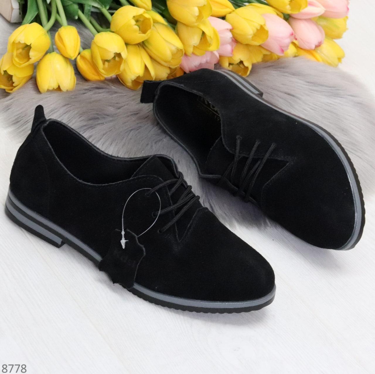 ТОЛЬКО 38, 41 р!!! Женские туфли черные на шнуровке натуральная замша