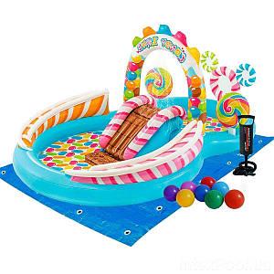 Надувний ігровий центр Intex 57149-2 «Солодощі», 259 х 191 х 130 см, з кульками 16 шт, підстилкою,