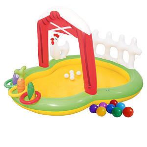 Надувний ігровий центр Bestway 53065 «Ферма», 175 х 147 х 102 см, з надувними кільцями, іграшками