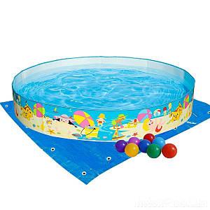 Басейн дитячий надувний Intex 56451-2 «Пляж на мілководді», 152 х 25 см, з кульками 10 шт,