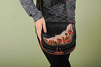 """Кожаная сумка 'Маки' ручной работы, эксклюзивная сумочка в стиле """"бохо"""", фото 1"""