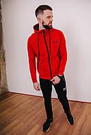 Спортивный костюм мужской красный Under Armour, натуральный хлопок + полиэстер   Спортивный костюм весенний