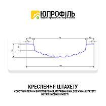 ✅ Евроштакетник металевий Сріблястий ➡️ Евроштакет Срібло ➡️ завод Юпрофиль штахетник, фото 3