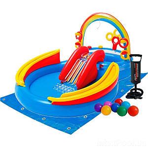 Надувний ігровий центр Intex 57453-2 «Веселка», 297 х 193 х 135 см, з кульками 16 шт, підстилкою,