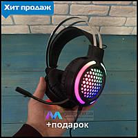 Игровые наушники с микрофоном G12 и подсветкой геймерские наушники для компьютера пс4 ps4 xbox