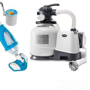 Оборудование для бассейна «Эксклюзив База» Intex 26648-4 (10 000 л/ч, пылесос, скиммер, шланг),