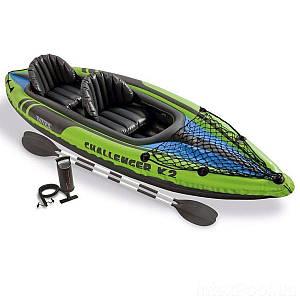 Двомісна надувна байдарка (каяк) Intex 68306 Challenger K2, 351 х 76 см, з веслами і насосом, (Оригінал)