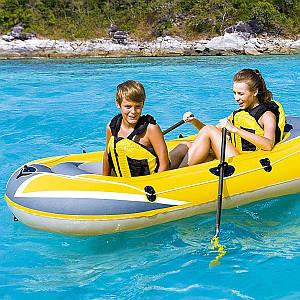 Одноместная надувная лодка Bestway 61064 Hydro - Force Raft, желтая, 228 х 121 см, (Оригинал)