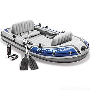 Четырехместная надувная лодка Intex 68324 Excursion 4 Set, 315 х 165 см, с веслами и насосом, (Оригинал)