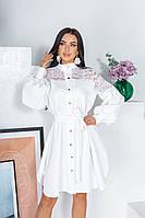 Красивое платье-рубашка с гипюром рассклешенной юбкой и поясом белое 42-44 46-48