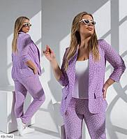 Стильный деловой костюм брючный женский с пиджаком на лето большие размеры 50-54 арт. 6086