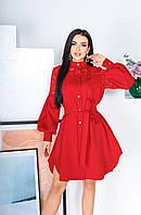 Красивое платье-рубашка с гипюром рассклешенной юбкой и поясом красное 42-44 46-48