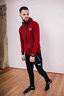 Спортивный костюм мужской бордовый Under Armour, натуральный хлопок + полиэстер   Спортивный костюм весенний
