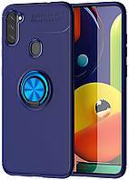 Чехол TPU Ring для Samsung Galaxy M11 / M115 Бампер противоударный с кольцом Blue