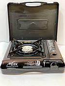 Плита газовая портативная MAXsun с адаптером коричневая