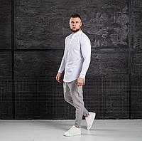 Мужской КОМПЛЕКТ Asos белая хлопковая рубашка и брюки серого цвета (серые) весна лето Турция