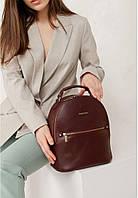 Рюкзак-сумка кожаный женский бордовый (ручная работа)