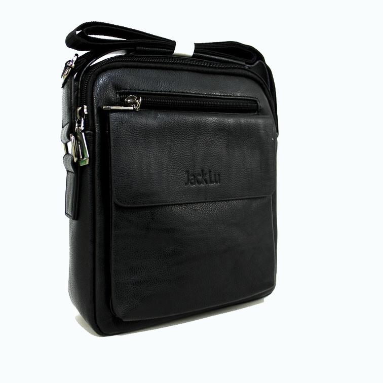 Практичная сумка через плечо для мужчин из искусственной кожи черного цвета Размеры: 23х20х6