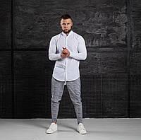 Мужской КОМПЛЕКТ Asos белая хлопковая рубашка и брюки серого цвета (серые) в клетку весна лето Турция
