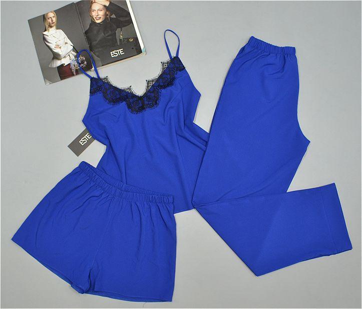 Синий комплект пижама  Este 215. Комплект тройка с кружевом майка штаны шорты .