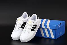 Мужские кроссовки Adidas Samba. Белые. ТОП реплика ААА класса.