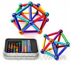 Неокуб Магнитный конструктор цветной 36 палочек 28 шариков  Neo MIX COLOR, 64 детали, головоломка