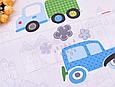 Сатин (хлопковая ткань) машинки и грузовики, фото 2