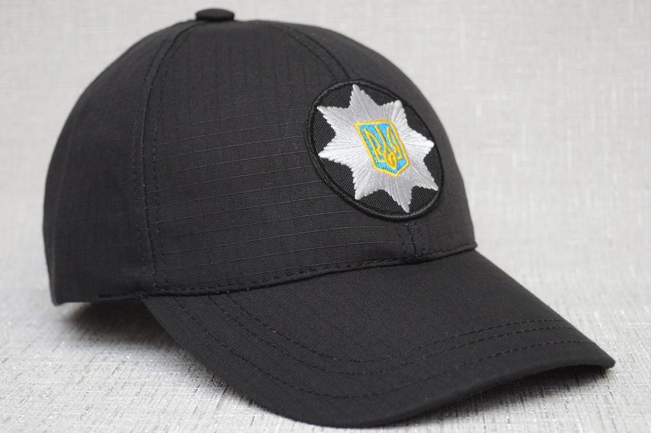 Чорна поліцейська бейсболка з тефлоновим просоченням