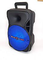 Колонка акумуляторная ALP-804 10W колонка чемодан с светомузыкой и микрофоном USB SD FM синяя