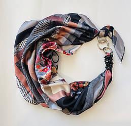 """""""Містичний блюз"""" Атласний шарф, хустка, шарф-кольє, шарф-чокер, шийна хустка"""