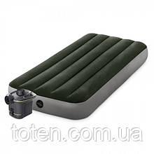Матрас надувной 99-191-25см Intex 64777 насос на батарейках, зеленый