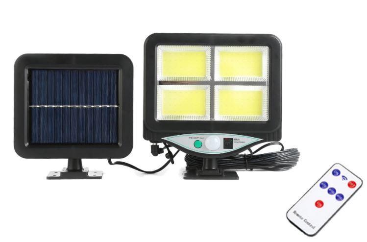 Вуличний ліхтар з датчиком руху на виносний сонячної батареї UKC BK-128-4COB.