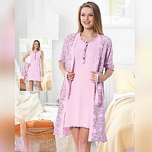 Одежда для сна женская хлопковая пеньюар с халатом Seyko розовый сердца