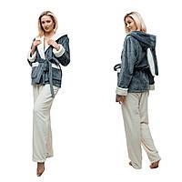 Женская пижама с ушками. Цвет: серый и молочный. Плюшевая махра премиум качества