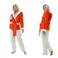 Плюшевая пижама с капюшоном. Жакет + штаны. Цвет: красный и молочный