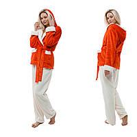 Теплая пижама с капюшоном. Жакет + штаны. Цвет: красный и молочный