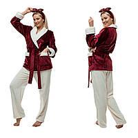 Мягкая пижама из плюшевой махры. Цвет: бордо и молочный