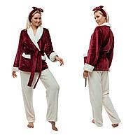 Женская пижама из плюшевой махры. Цвет: бордо и молочный