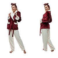 Теплая пижама из плюшевой махры. Цвет: бордо и молочный