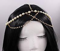 Нежное украшение на голову Тиара Золото Жемчуг №35, фото 1