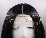 Цепочка золотая на голову с круглыми подвесками №3, фото 1