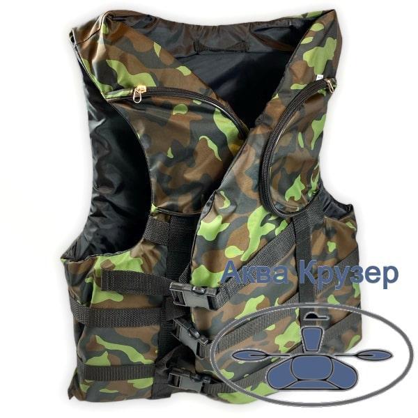Страховочный спасательный жилет 100-120 кг взрослый с карманами сертифицированный камуфляж для рыбалки