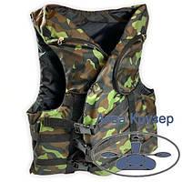 Страхувальний рятувальний жилет 100-120 кг дорослий з кишенями сертифікований камуфляж для риболовлі