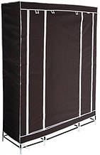 Розпродаж! Портативний тканинний складаний шафа-органайзер для одягу на 3 секції - коричневий