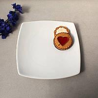 Квадратная белая тарелка из белого фарфора HLS 195х195 мм (A1120-9,5)