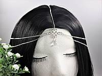 Серебренное украшение на голову Тиара Жемчужина цепочка, фото 1