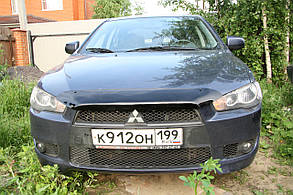 Дефлектор капота Mitsubishi Lancer/Митсубиси Лансер с 2007 Хик на крепежах