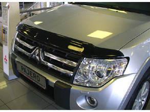 Дефлектор капота  Mitsubishi Pajero Wagon/Митсубиси Паджеро Вагон с 2007 Хик на крепежах