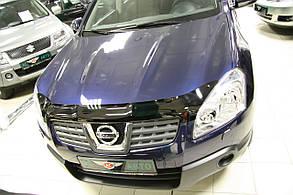 Дефлектор капота Nissan Qashqai/ Ниссан Кашкай 2006-2010 до рестайлинга Хик на крепежах